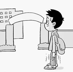 送孩子上学简笔画